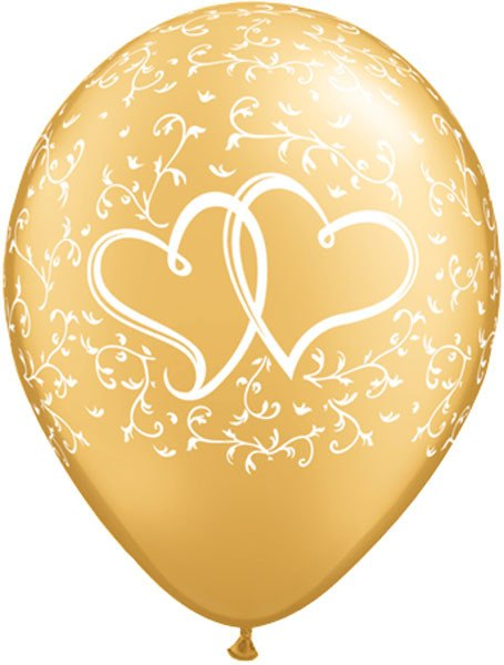 """11"""" / 28cm 25ct / 25szt Entwined Hearts - Gold Qualatex #18639"""