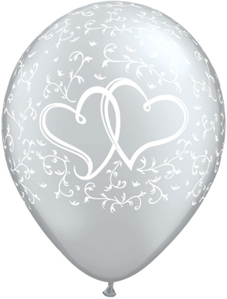 """11"""" / 28cm 25ct / 25szt Entwined Hearts - Silver Qualatex #18641"""