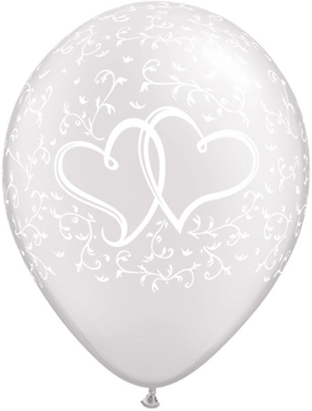 """11"""" / 28cm 25ct / 25szt Entwined Hearts - Pearl White Qualatex #31497"""