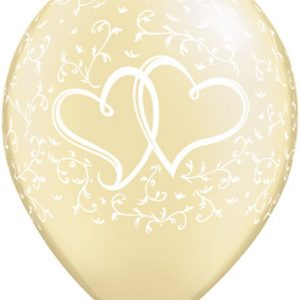 "11"" / 28cm 25ct / 25szt Entwined Hearts - Pearl Ivory Qualatex #31503"