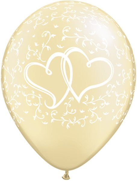 """11"""" / 28cm 25ct / 25szt Entwined Hearts - Pearl Ivory Qualatex #31503"""