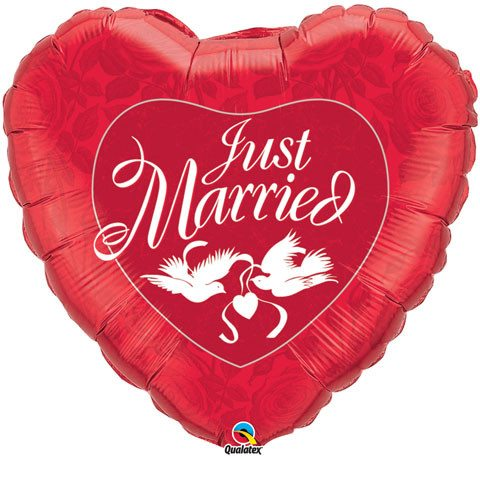 36″ / 91cm Just Married Red & White Qualatex #32344