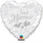 """36"""" / 91cm Just Married Pearl White & Silver Qualatex #82425"""
