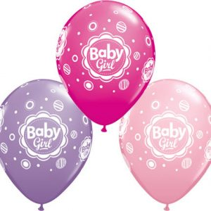"11"" / 28cm 25ct / 25szt Baby Girl Dots Qualatex #18507"