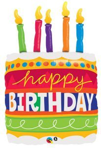"35"" / 89cm Birthday Cake & Candles Qualatex #17269"
