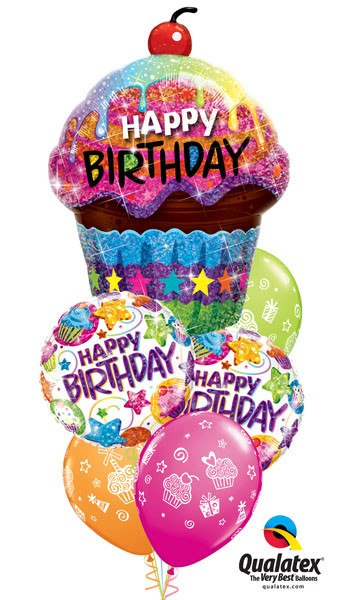 Bukiet 32# – 35″ / 89cm Birthday Dazzling Cupcake Qualatex #16085, 41438_2, 87291_3