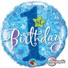 "18"" / 46cm 1st Birthday Stars Blue Qualatex #41592"