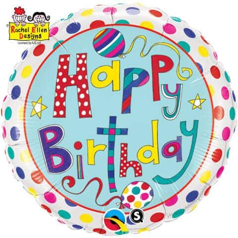 "18"" / 46cm Rachel Ellen - Birthday Polka Dots & Stripes Qualatex #50404"