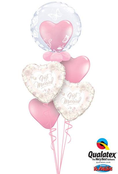 Bukiet 42# – 24″ / 61cm Deco Bubbles – Elegant Roses & Butterflies Qualatex #29718, 31082_2, 43727_2
