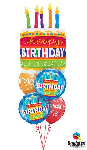 Bukiet 54# – 35″ / 89cm Birthday Cake & Candles Qualatex #17269, 16695_2, 18374_2