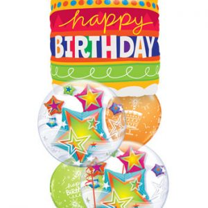 "Bukiet 55# - 35"" / 89cm Birthday Cake & Candles Qualatex #17269, 11962_2, 18374_2"