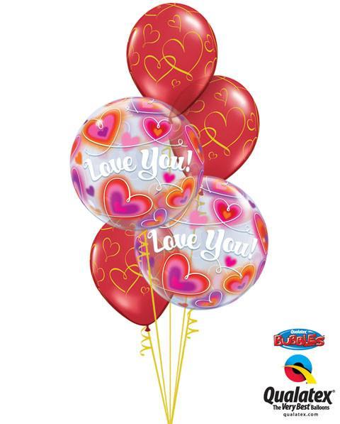 Bukiet 44# – 22″ / 56cm Love You Doodle Hearts Qualatex #34072_2, 40862_3