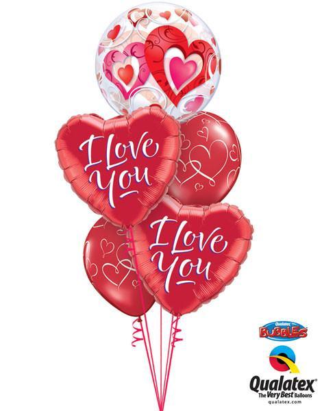 Bukiet 45# – 22″ / 56cm Red Hearts & Filigree Qualatex #33909, 29133_2, 40862_2