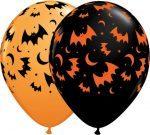 """11"""" / 28cm 25ct / 25szt Haunted Halloween Bats & Moons Qualatex #40070"""