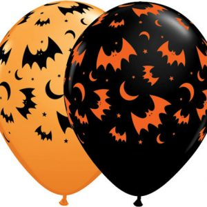 "11"" / 28cm 25ct / 25szt Haunted Halloween Bats & Moons Qualatex #40070"