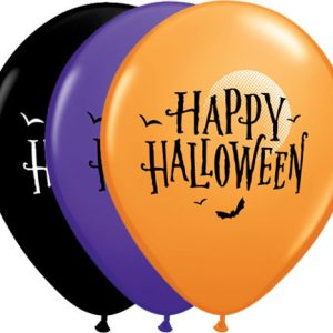 "11"" / 28cm 25ct / 25szt Halloween Moon & Bats Qualatex #60152"