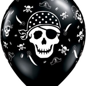 "11"" / 28cm Pirate Skull & Cross Bones Qualatex"