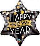"22"" / 56cm New Year Confetti Dots Black Qualatex #19035"