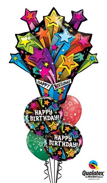 Bukiet 94# – 35″ / 89cm Shooting Stars Birthday Present Qualatex #16093, 41662_2, 46110_2