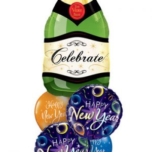 "Bukiet 108# - 39"" / 99cm Celebrate Bubbly Wine Bottle Qualatex #16122, 40085_2, 60136_2"