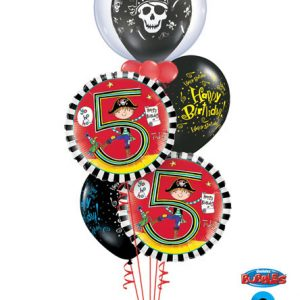 "Bukiet 91# - 24"" / 61cm Deco Bubble Clear Pirate Skull & Cross Bones Qualatex #68825, 17939_1, 17928_2, 24160_2"