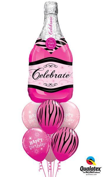 Bukiet 75# – 39″ / 99cm Celebrate Pink Bubbly Wine Qualatex #15844, 12584_3, 25588_3