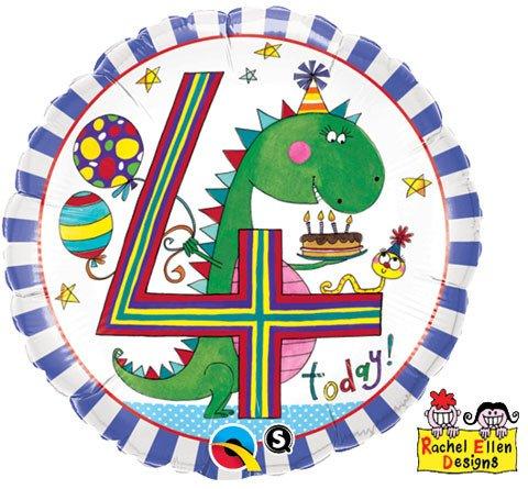 "18"" / 46cm Rachel Ellen - Age 4 Dinosaur Stripes Qualatex #24101"