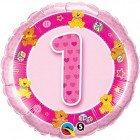 "18"" / 46cm Age 1 Pink Teddies Qualatex #26281"