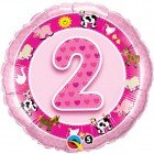 "18"" / 46cm Age 2 Pink Farm Animals Qualatex #26289"