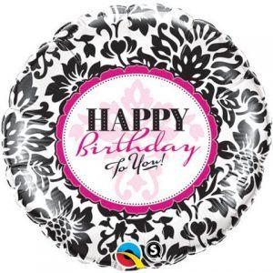 Birthday Elegant Damask Qualatex