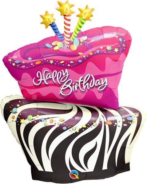 41″ / 104cm Birthday Funky Zebra Stripe Cake Qualatex #16081