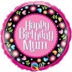 "18"" / 46cm Birthday Mum Pink & Floral Border Qualatex #36603"