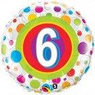 "18"" / 46cm Age 6 Colourful Dots Qualatex #41104"