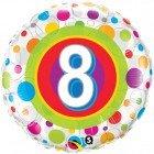"18"" / 46cm Age 8 Colourful Dots Qualatex #41112"