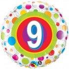 "18"" / 46cm Age 9 Colourful Dots Qualatex #41116"