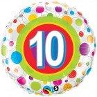 "18"" / 46cm Age 10 Colourful Dots Qualatex #41120"