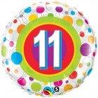 "18"" / 46cm Age 11 Colourful Dots Qualatex #41124"