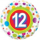 "18"" / 46cm Age 12 Colourful Dots Qualatex #41128"