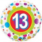 "18"" / 46cm Age 13 Colourful Dots Qualatex #41132"