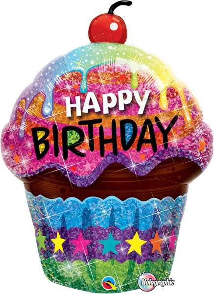 35″ / 89cm Birthday Dazzling Cupcake Qualatex #16085