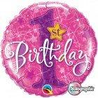 "18"" / 46cm 1st Birthday Stars Pink Qualatex #41597"