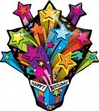 "35"" / 89cm Shooting Stars Birthday Present Qualatex #16093"