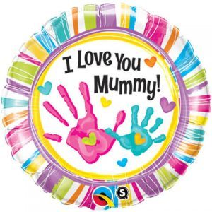 "18"" / 46cm I Love You Mummy Handprints Qualatex #90581"