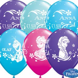 "11"" / 28cm 25ct / 25szt Anna, Elsa, & Olaf Qualatex #18675"