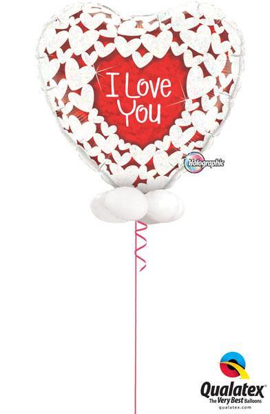 Bukiet 150# – 36″ / 91cm I Love You Glitter Hearts Qualatex #16512
