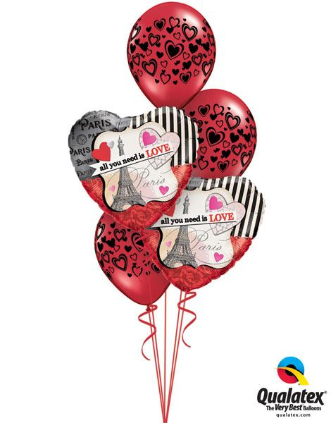 129# Bukiet – 18″ / 46cm All You Need Is Love Qualatex #65096_2, 40863_3