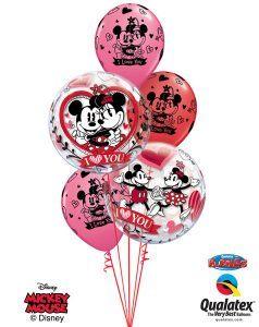 "Bukiet 146# - 22"" / 56cm Disney Mickey & Minnie I Love You Qualatex #21892_2, 23186_3"