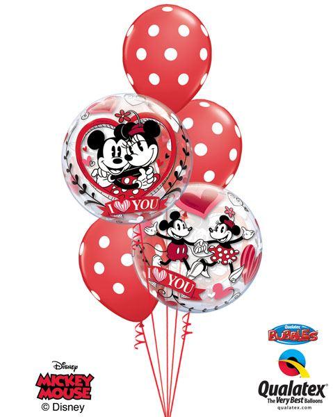 147# Bukiet – 22″ / 56cm Mickey & Minnie I Love You Qualatex #21892_2, 29510_3