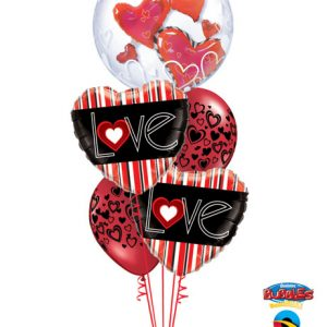 "Bukiet 137# - 24"" / 61cm Lovely Floating Hearts Qualatex #68808, 21698_2, 40863_2"