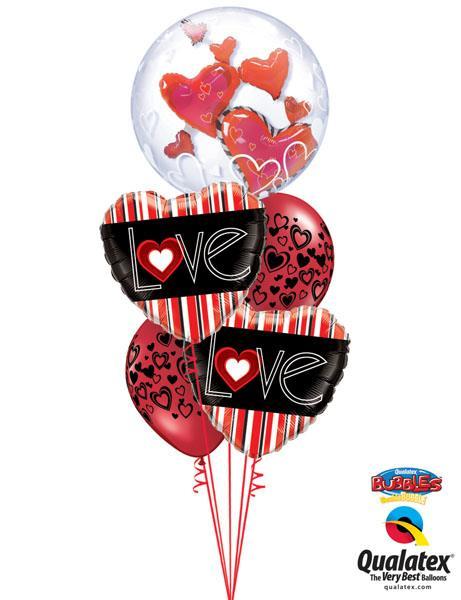 Bukiet 137# – 24″ / 61cm Lovely Floating Hearts Qualatex #68808, 21698_2, 40863_2